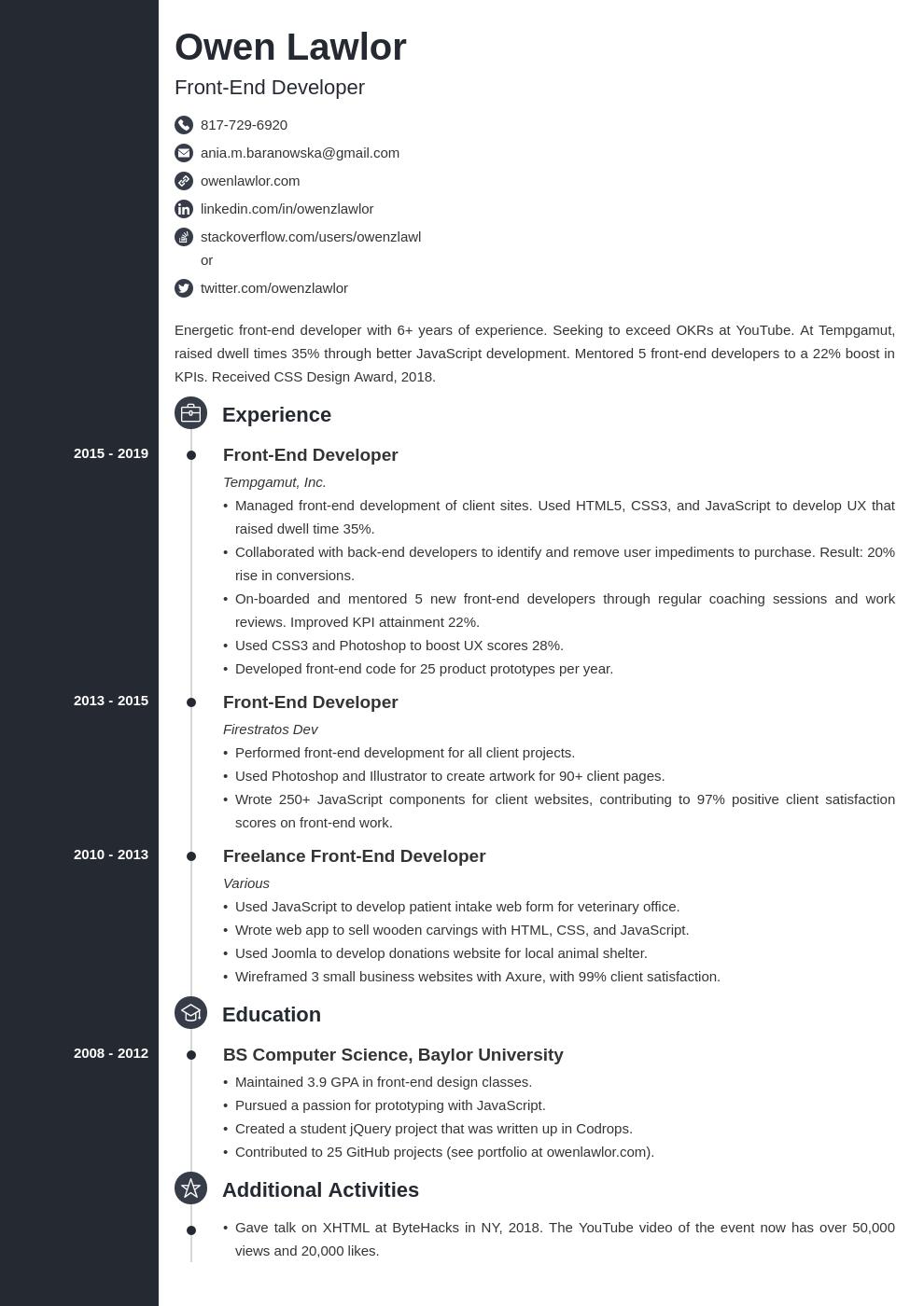 front end developer template concept uk