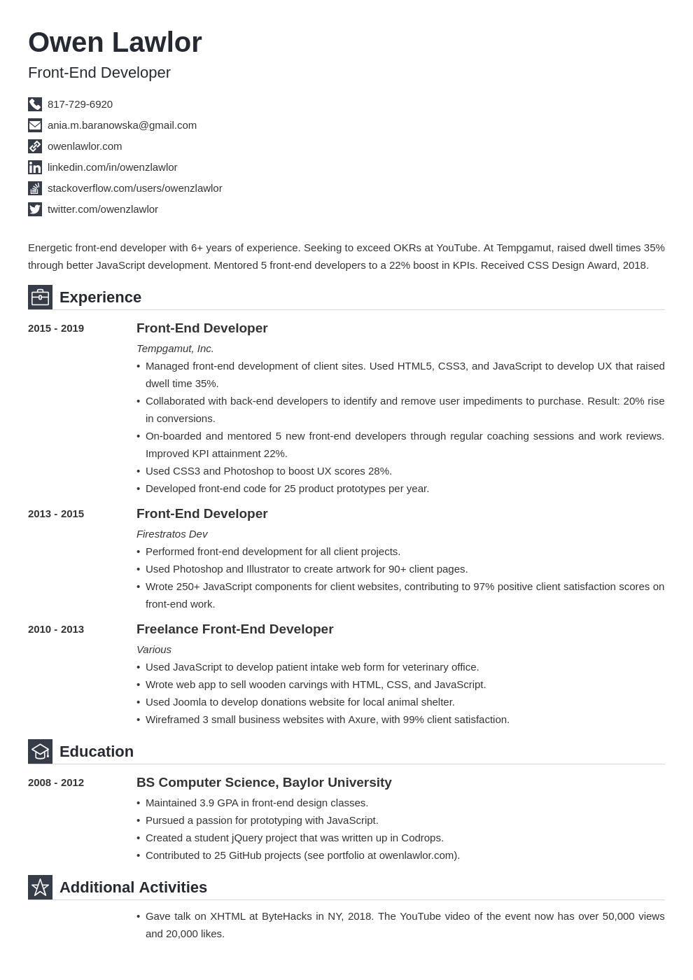 front end developer template iconic uk