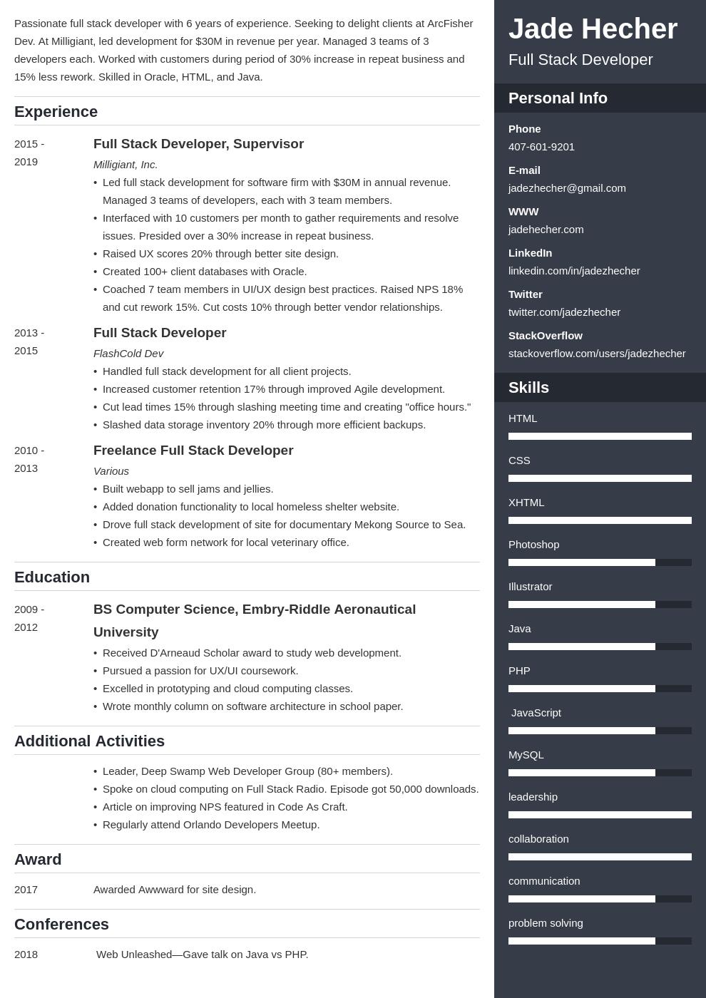 full stack developer template enfold uk