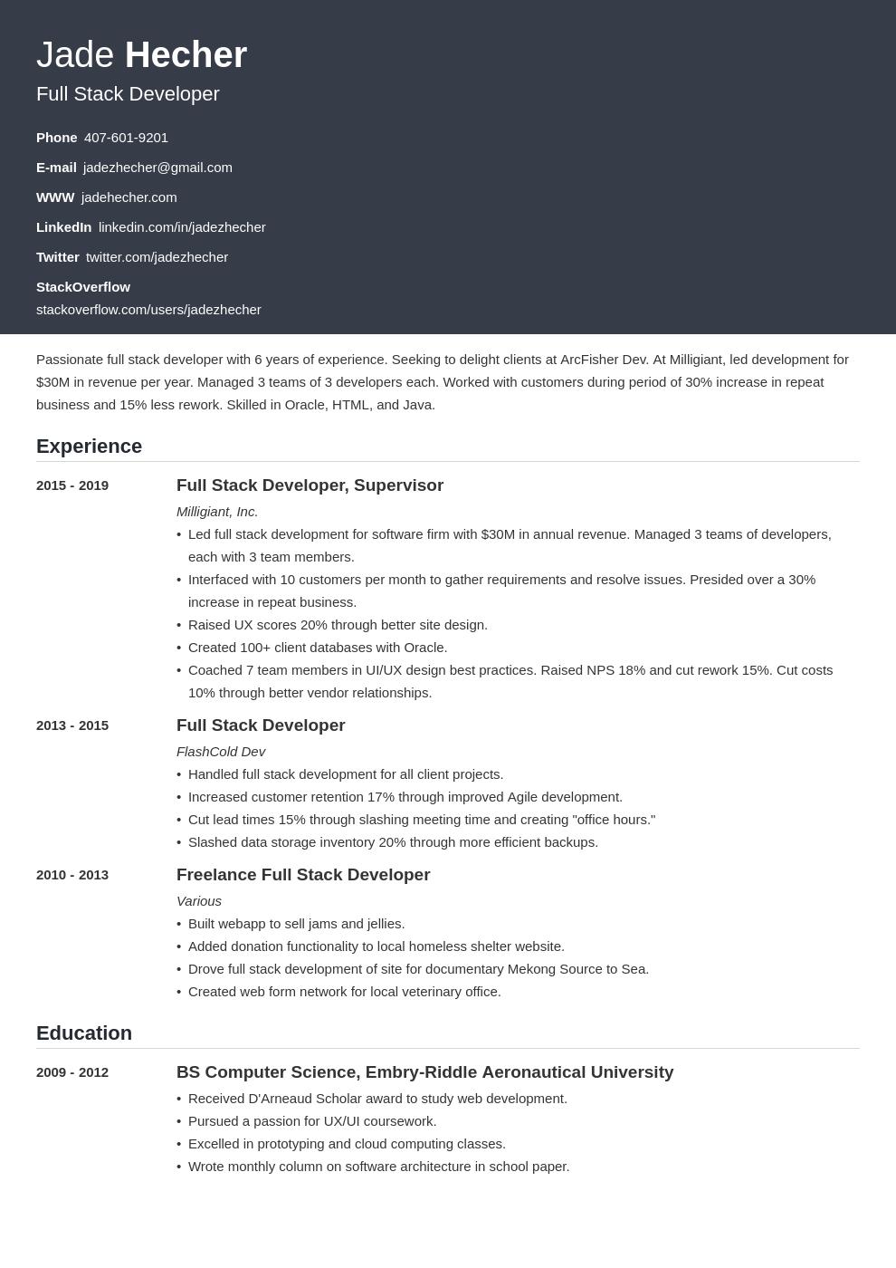 full stack developer template influx uk
