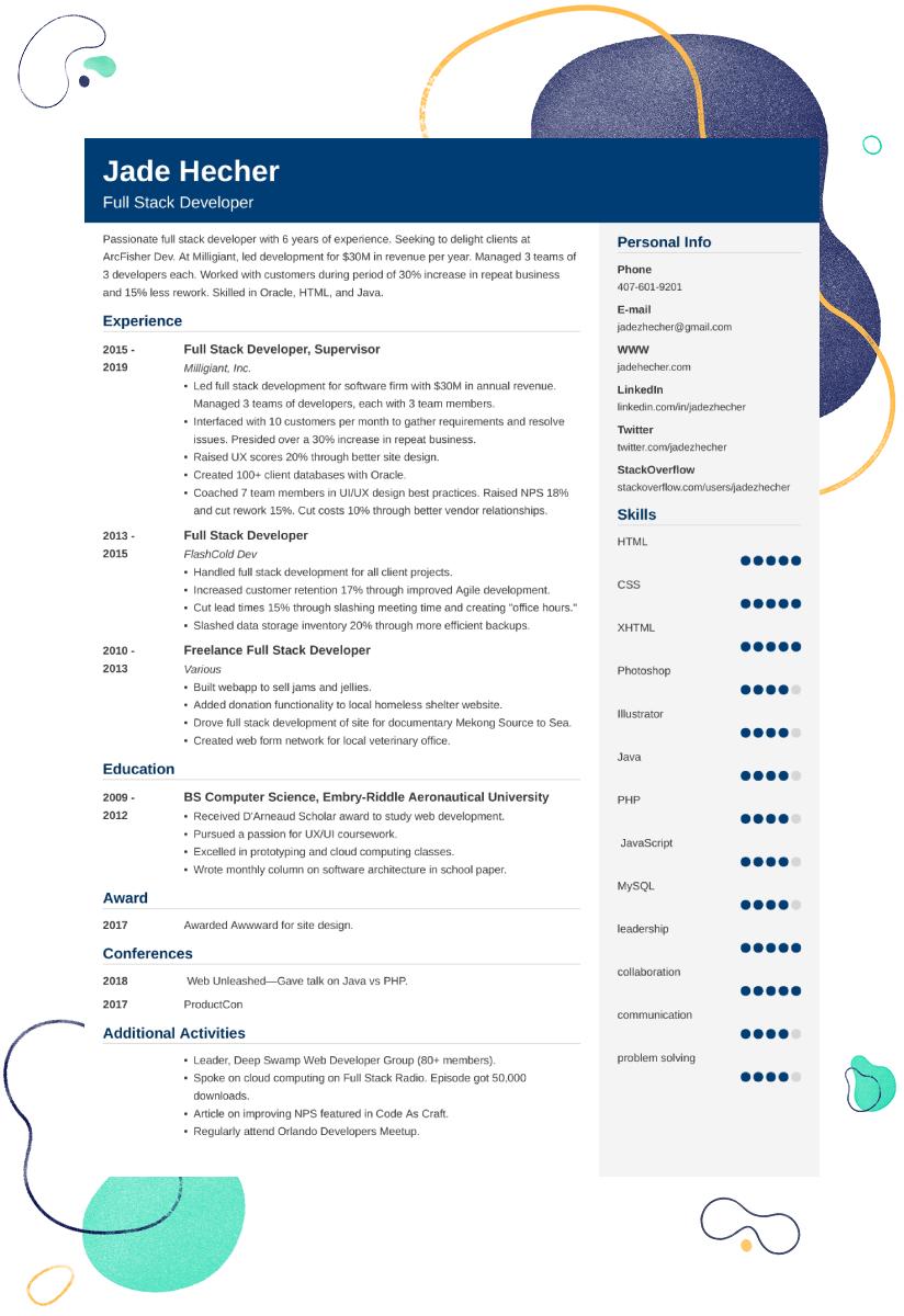full stack developer CV example