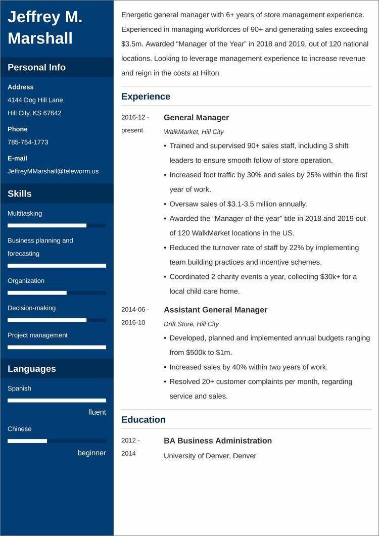 general manager CV templates