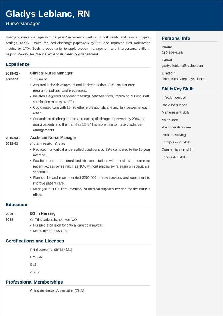 nurse manager resume example