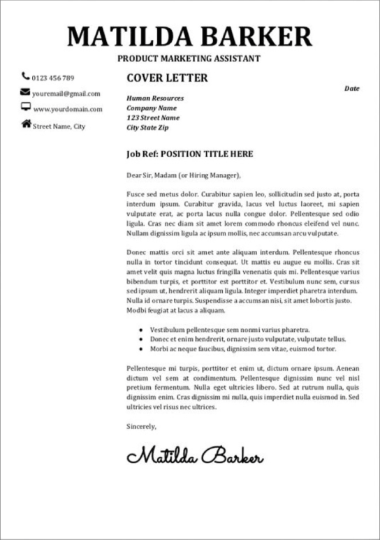 google docs cover letter templates