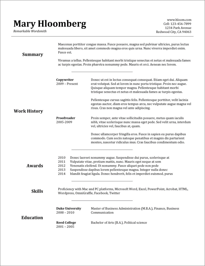 google docs resume templates