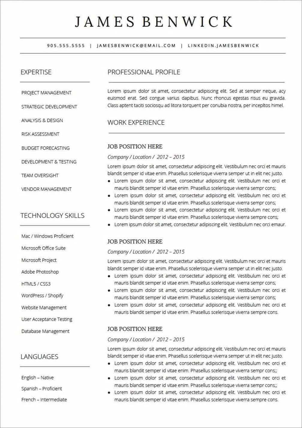25 Resume Templates For Google Docs Free Download