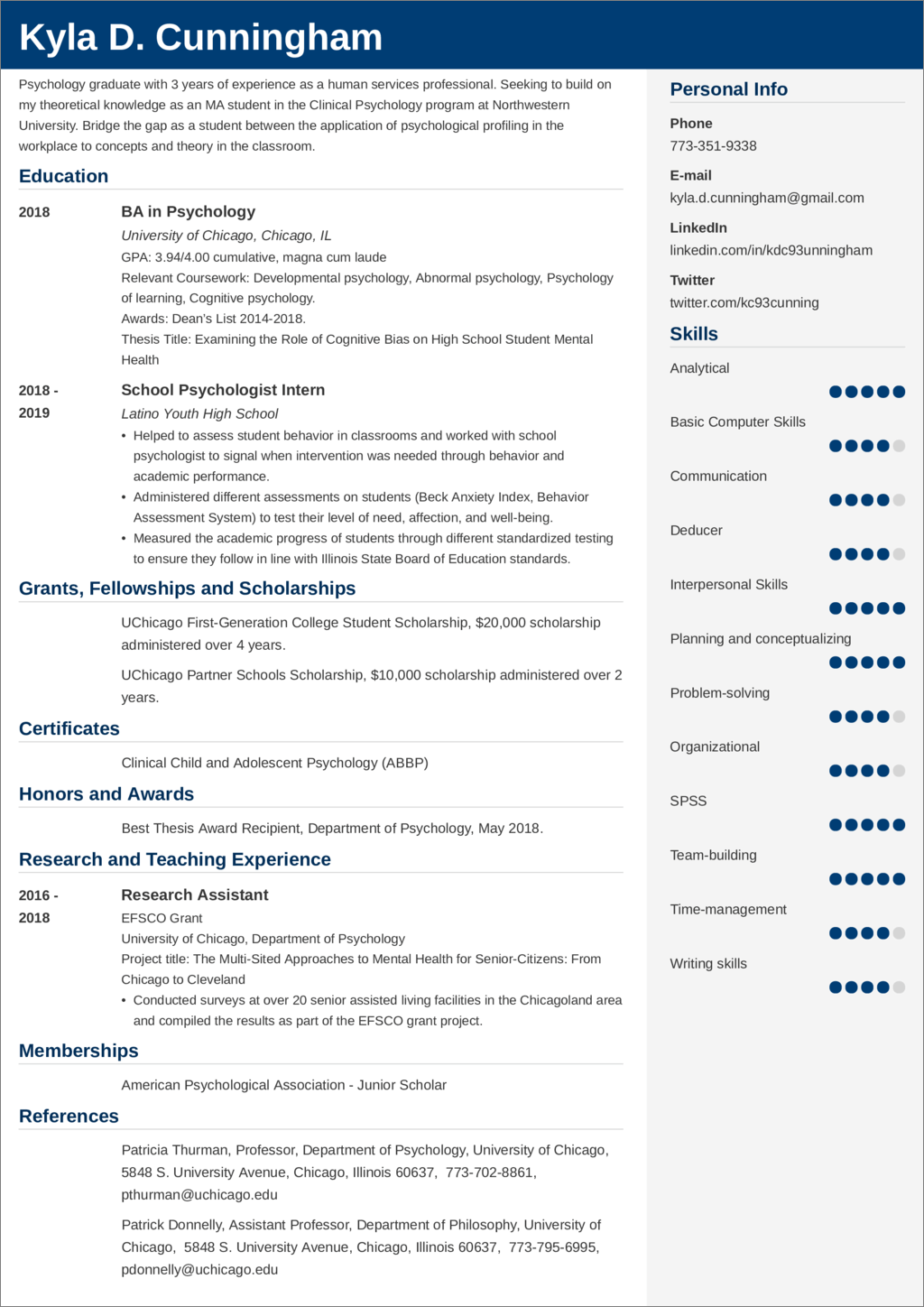 Graduate School Resume Cv Sample Guide Tips
