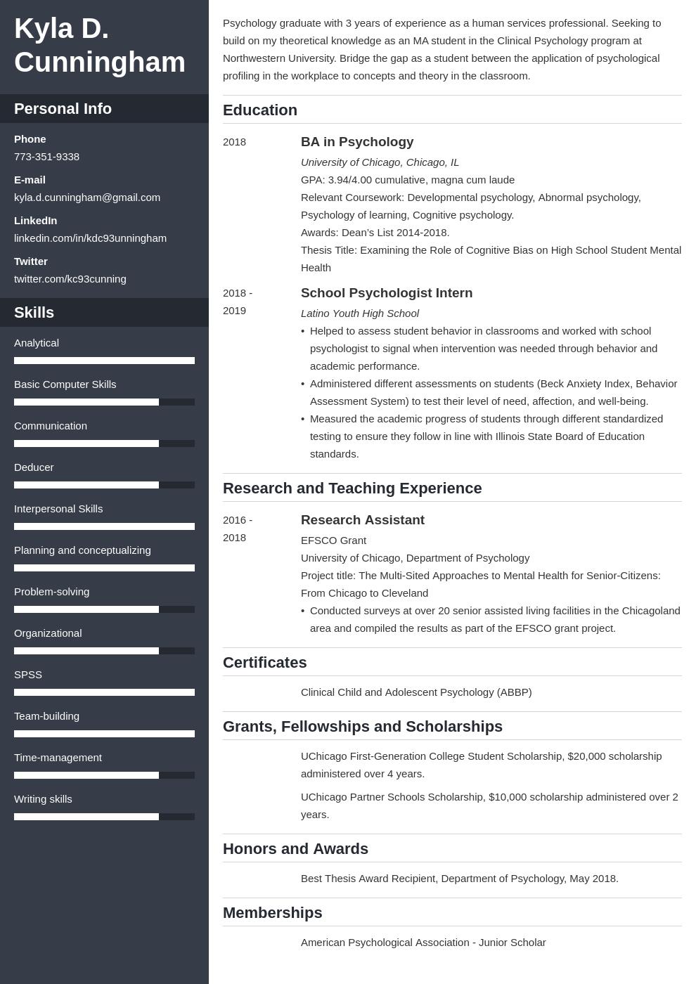 graduate school template cascade uk
