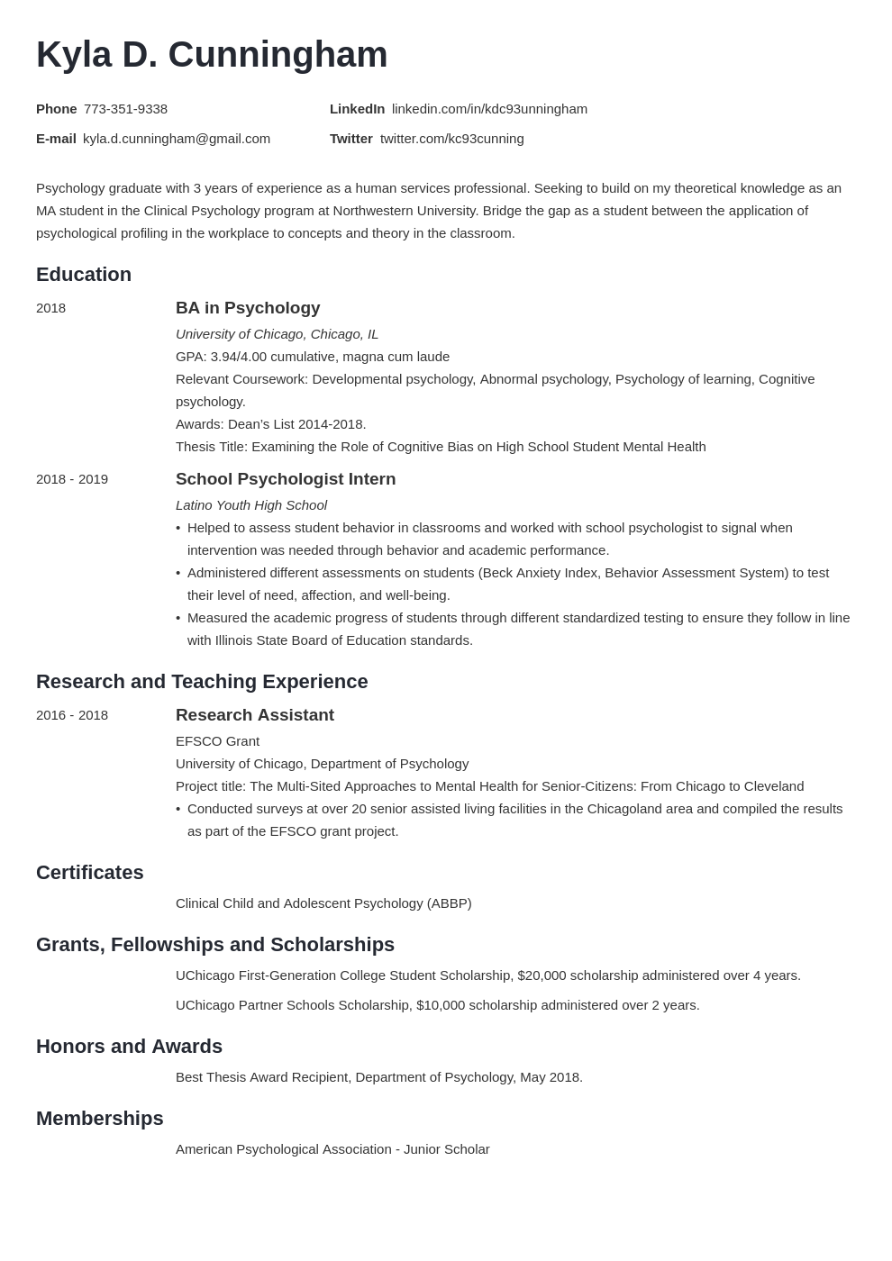 CV Example for PhD Candidates - myPerfectCV