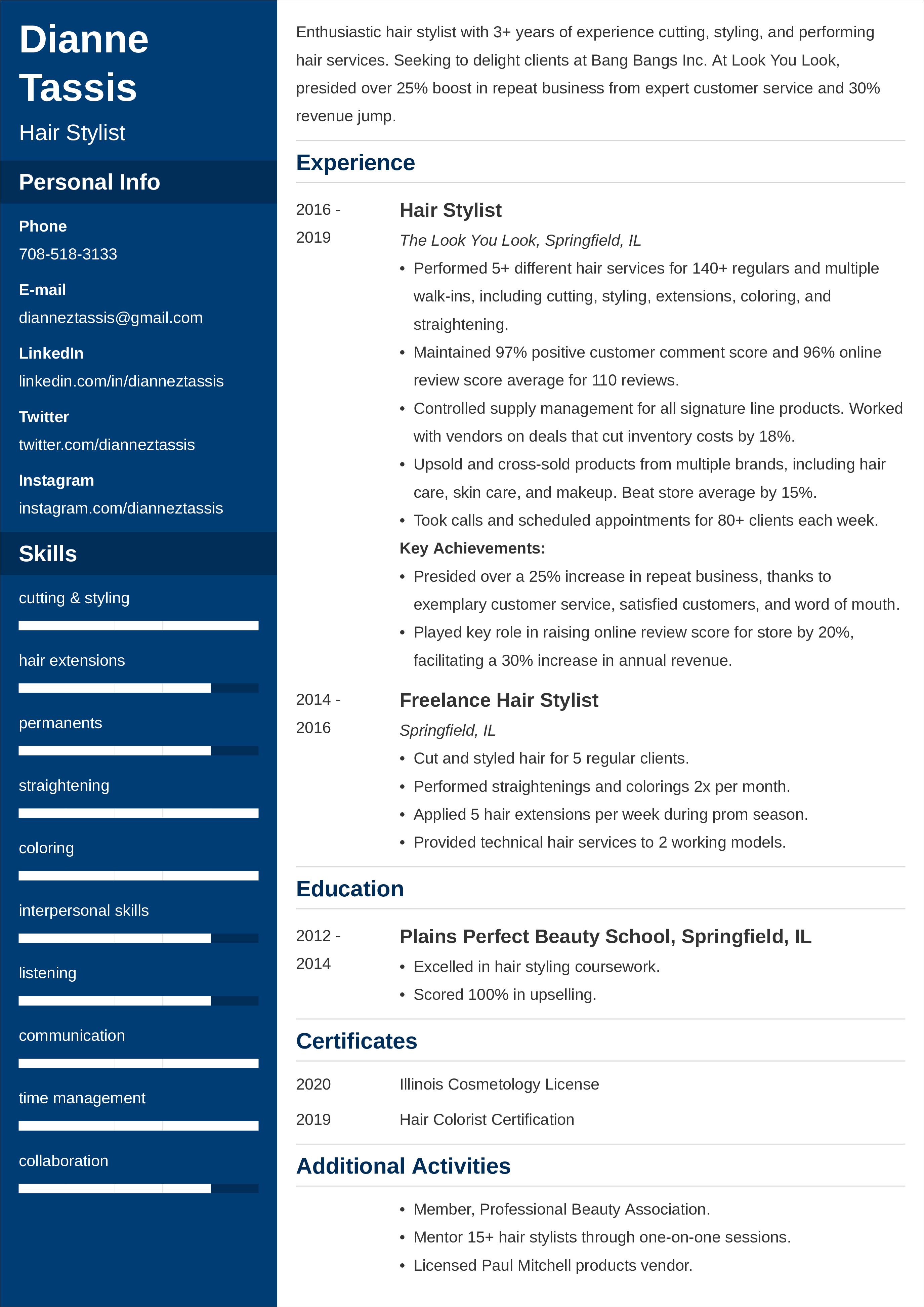 hair stylist CV templates