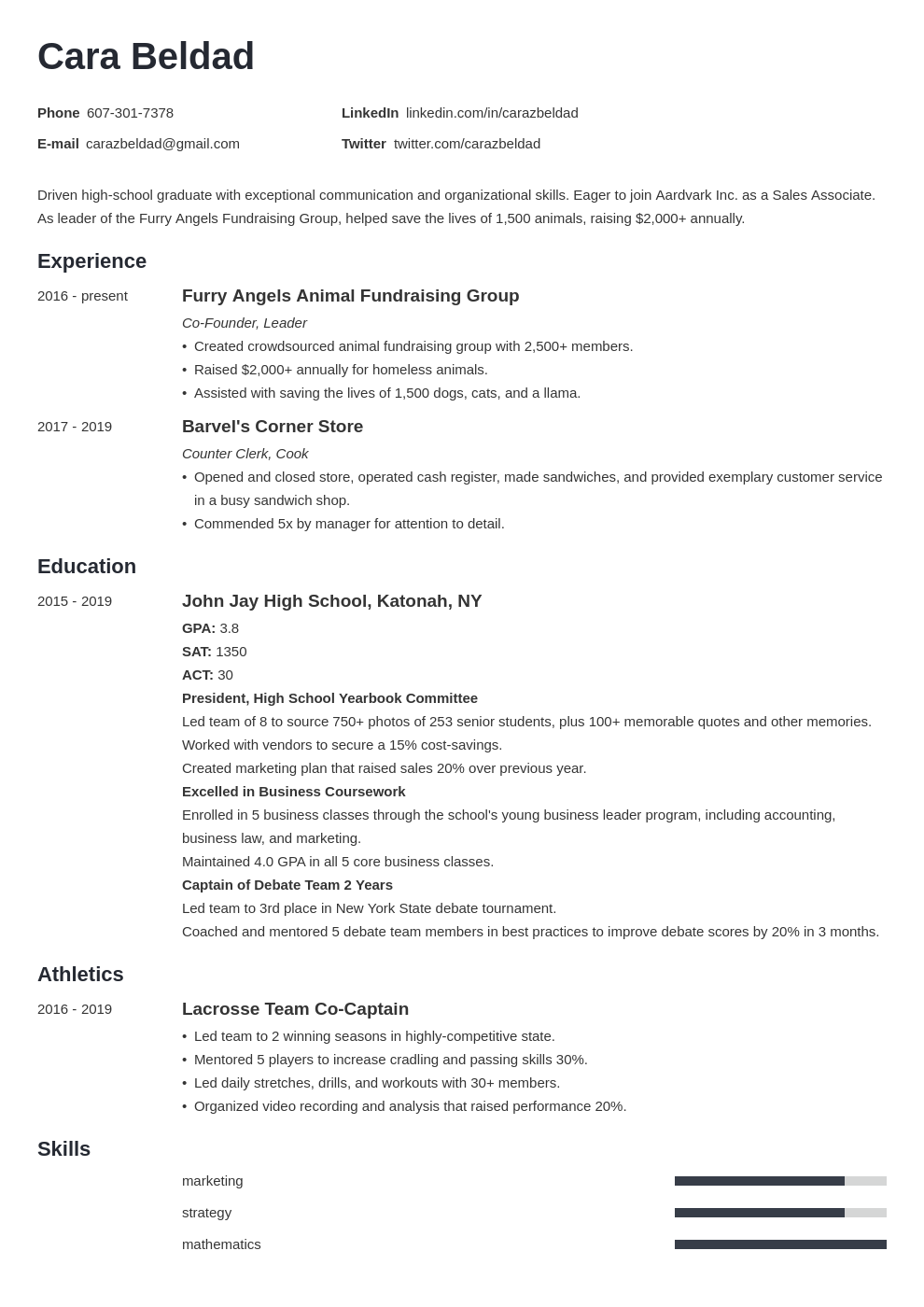 high school graduate resume example   with no experience