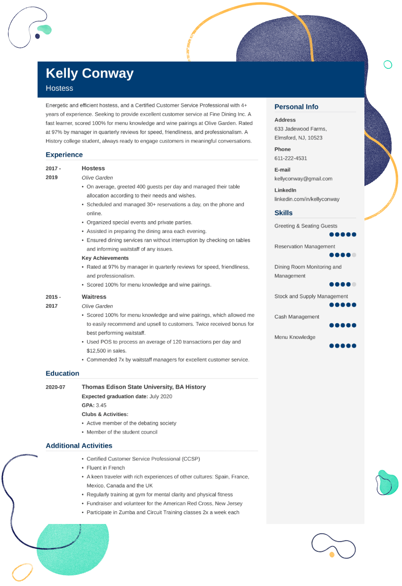 hostess resume u2014examples and 25  writing tips