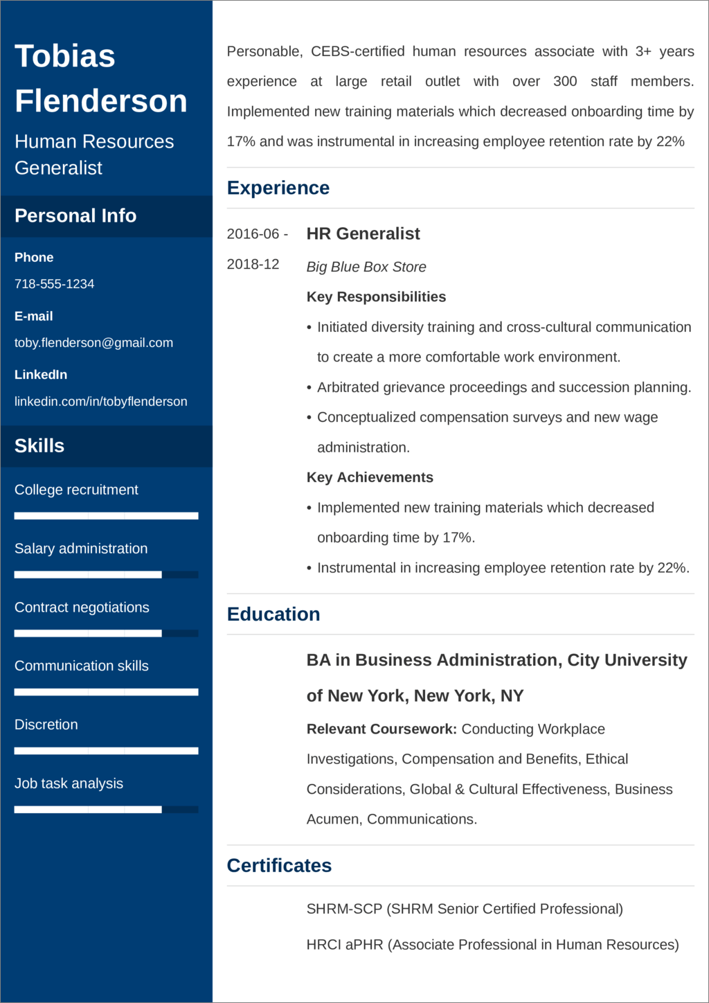 Human Resources Resume Sample 25 Examples And Writing Tips