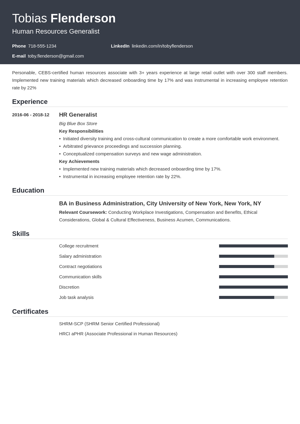human resources template influx