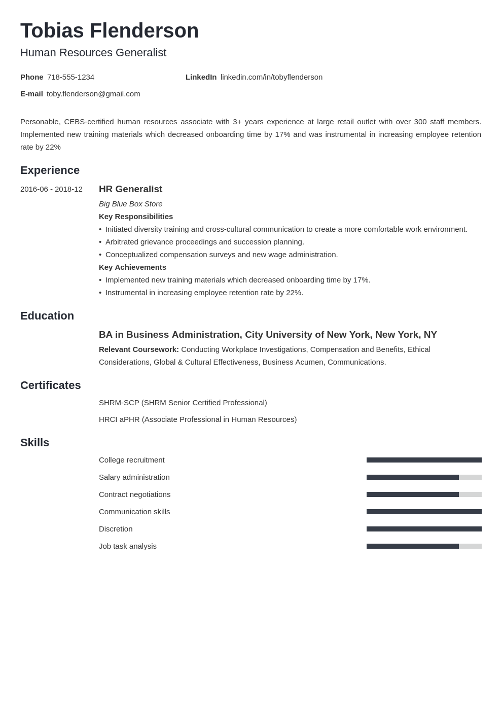 human resources template minimo