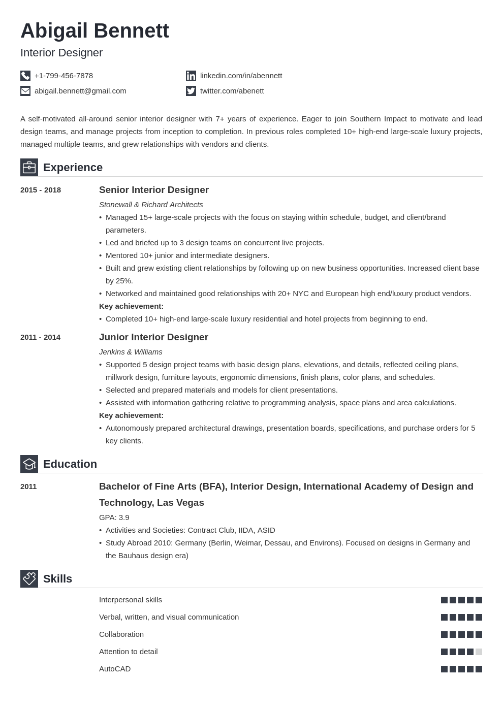 Interior Design Resume Examples And 25 Writing Tips