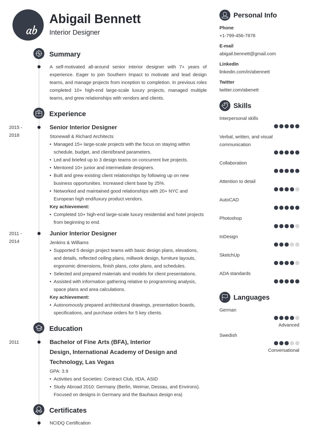 intermediate interior designer job description example