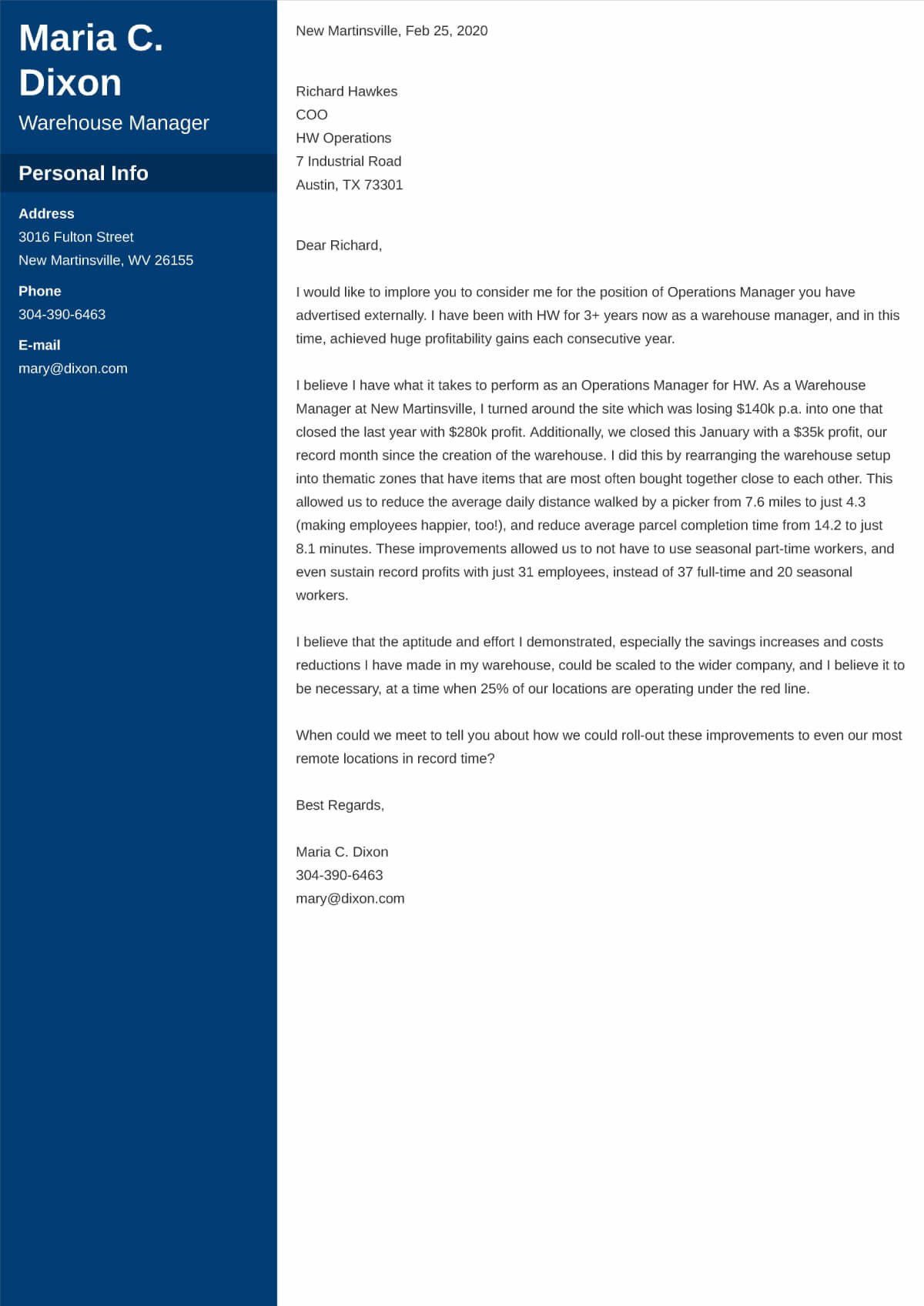 Cover Letter For Internal Position Or Promotion Examples