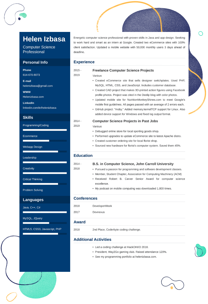 Internship Resume Examples—Template & 25+ Writing Tips