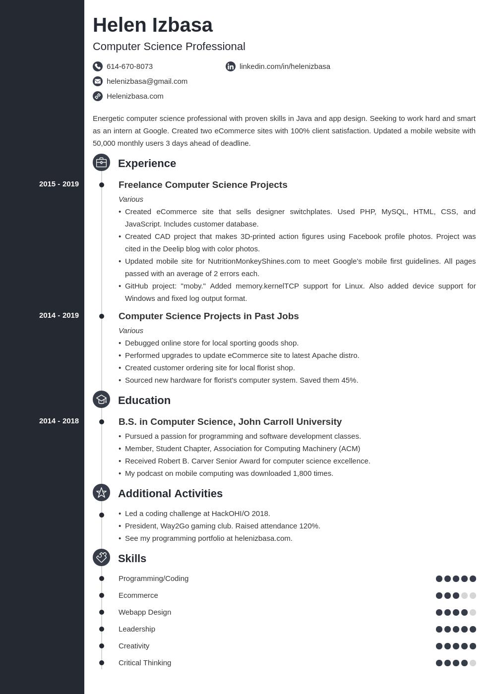 internship template concept