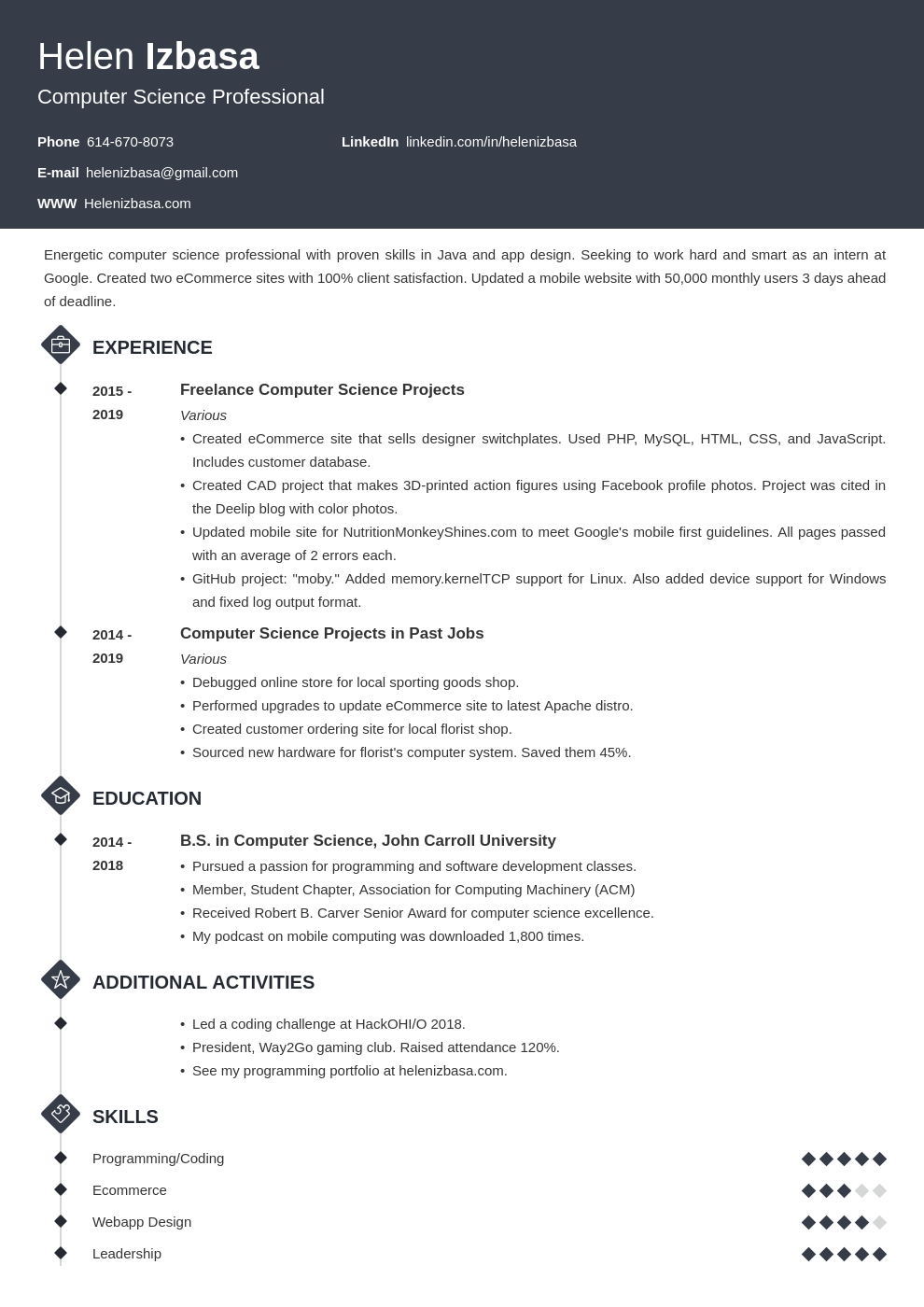 internship template diamond