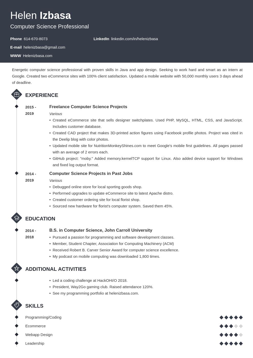internship template diamond uk