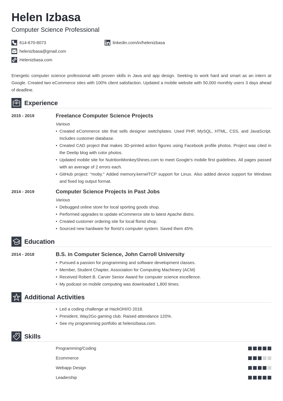 internship template iconic uk