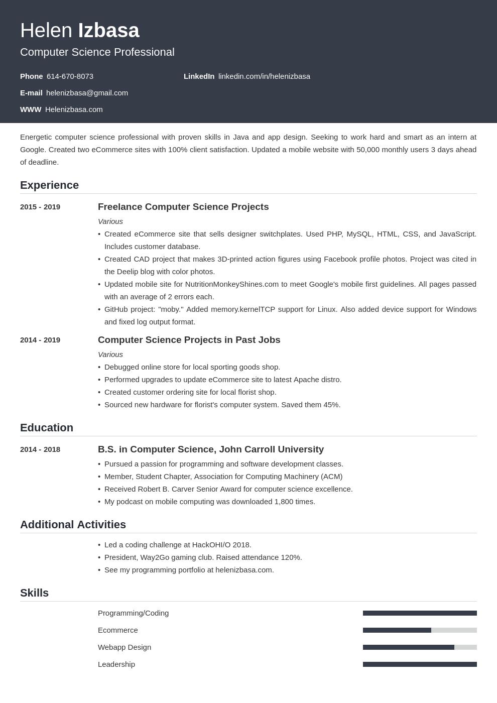 internship template influx