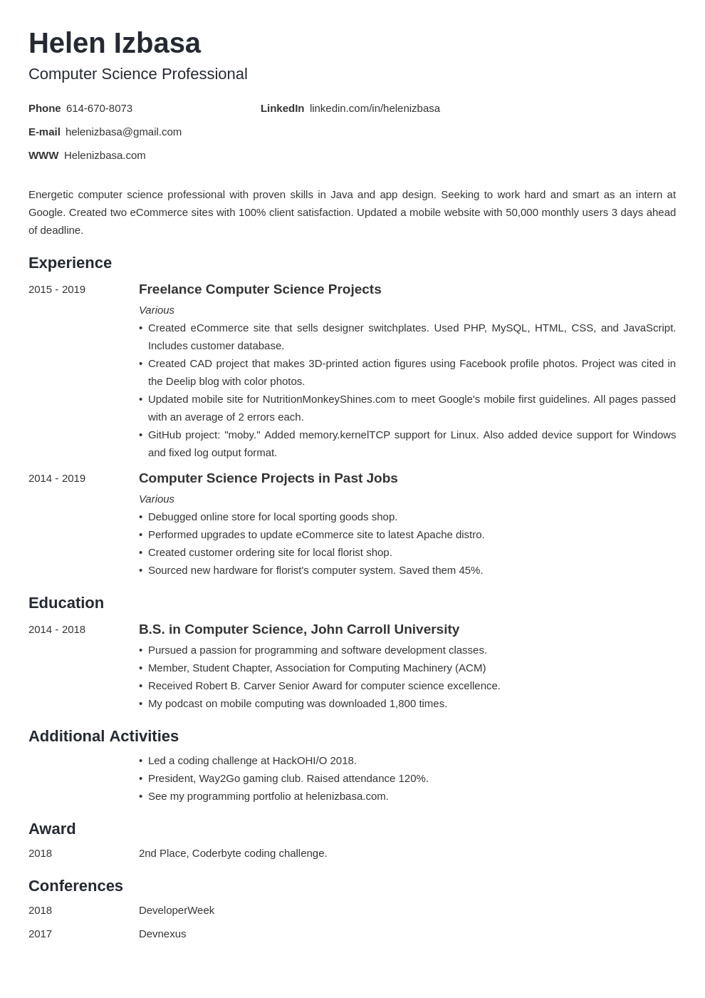 internship template minimo