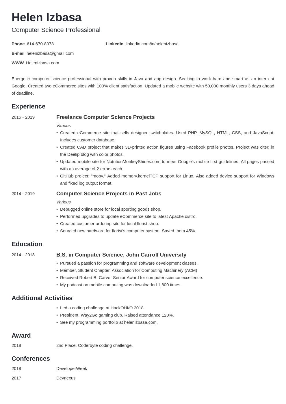 internship template minimo uk