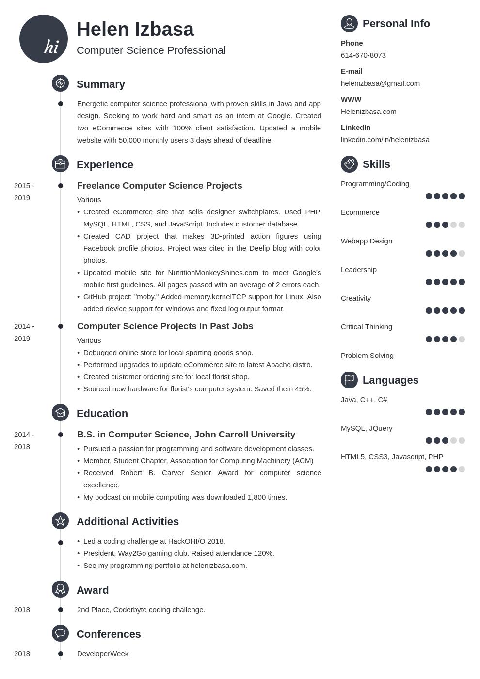 internship template primo