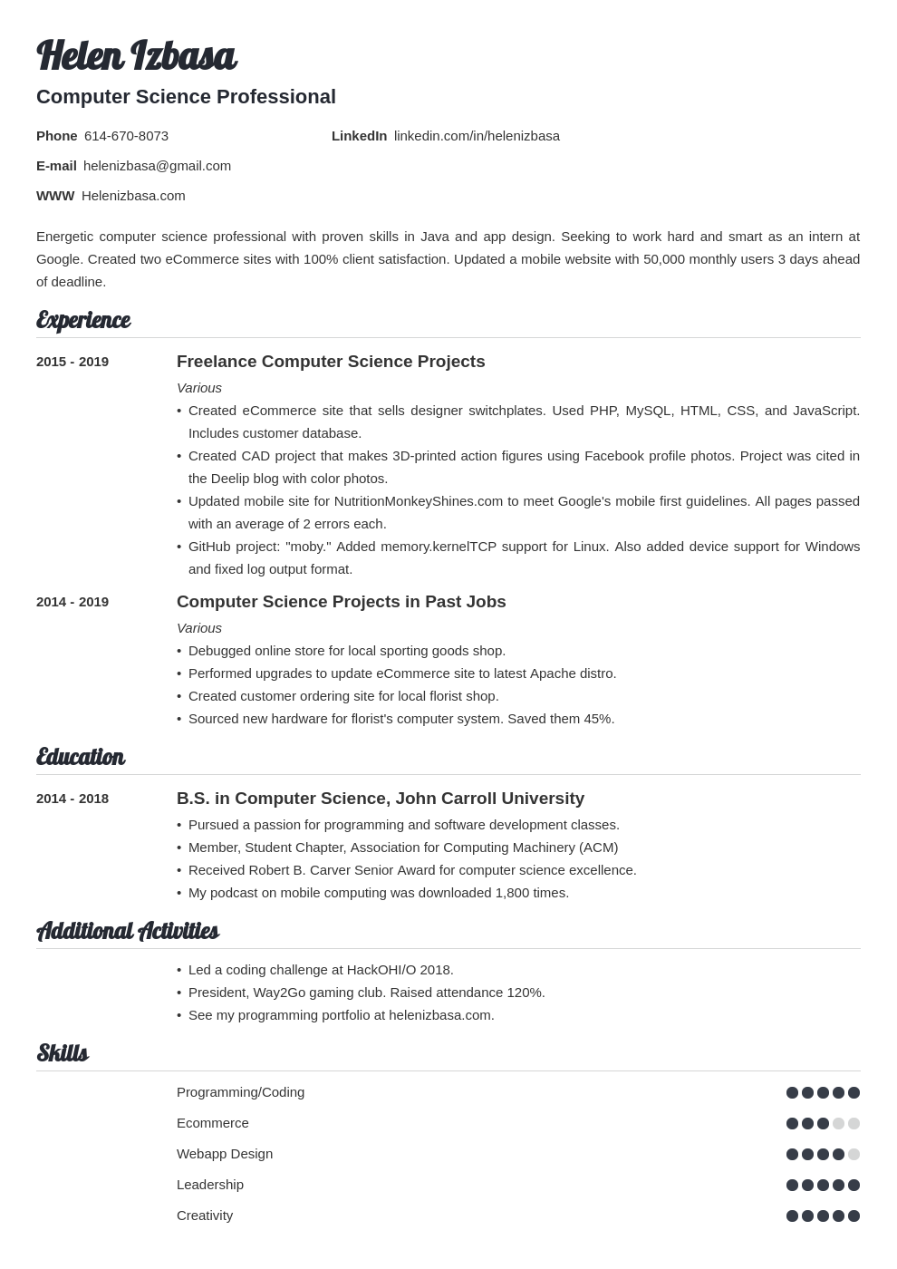 internship template valera