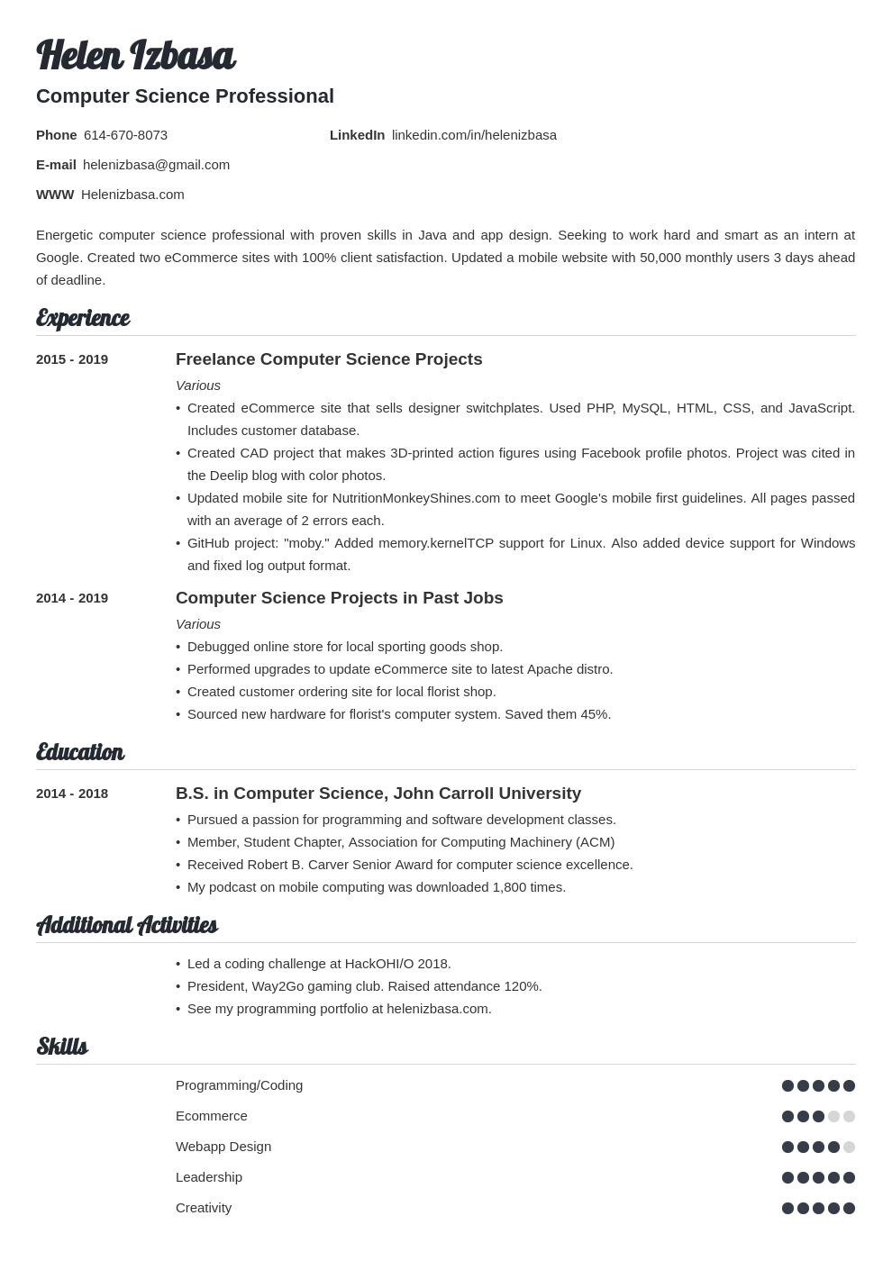 internship template valera uk