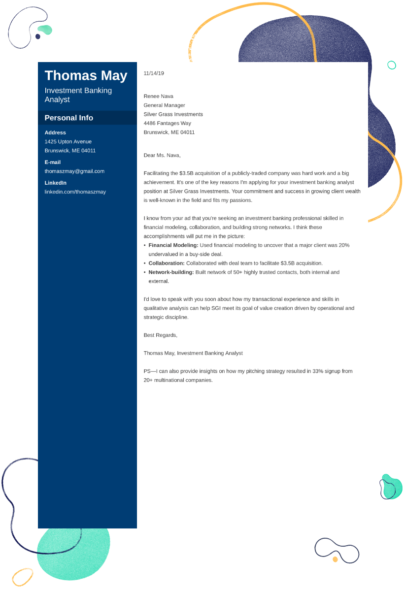 investment banking cover letter example