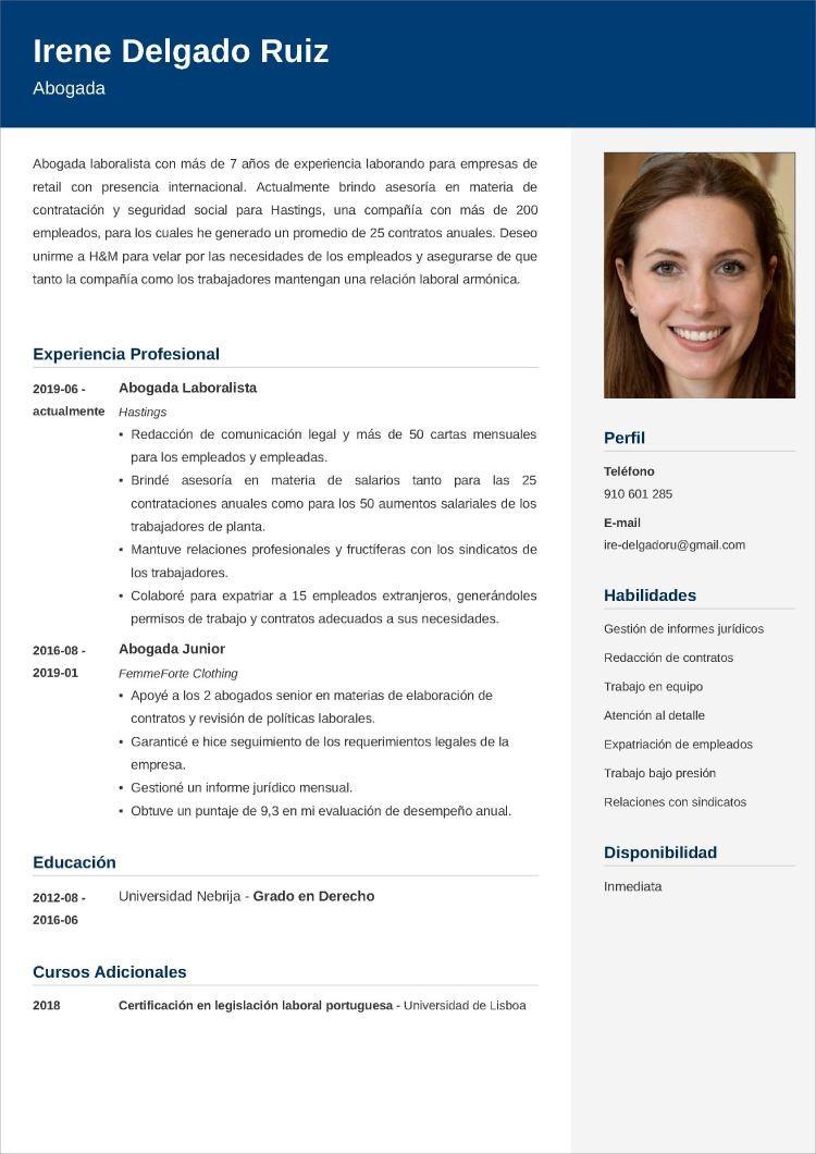 abogado modelos de currículum