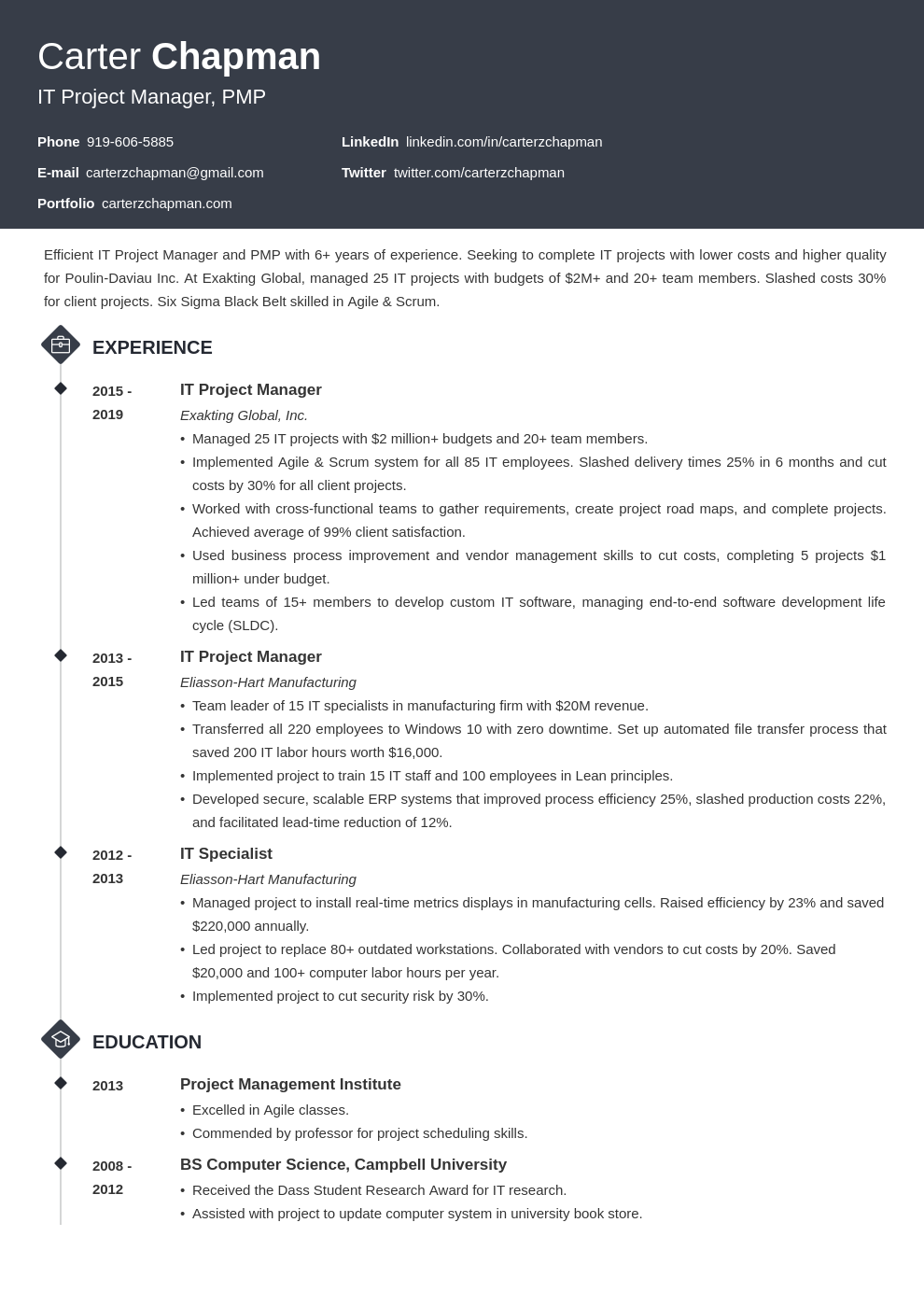 it project manager template diamond uk
