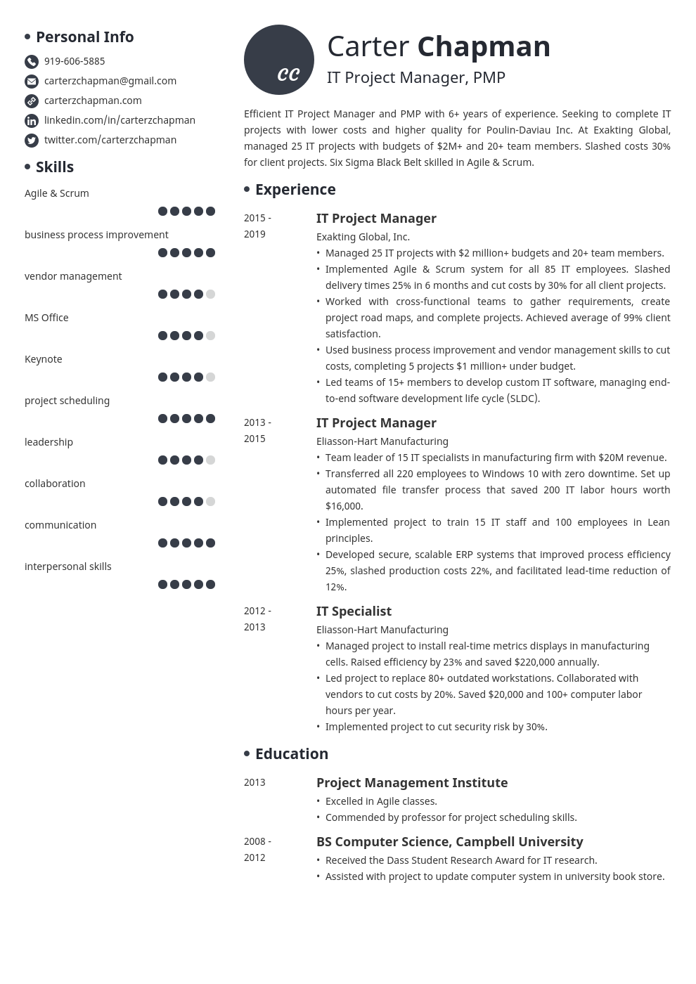 it project manager template initials uk
