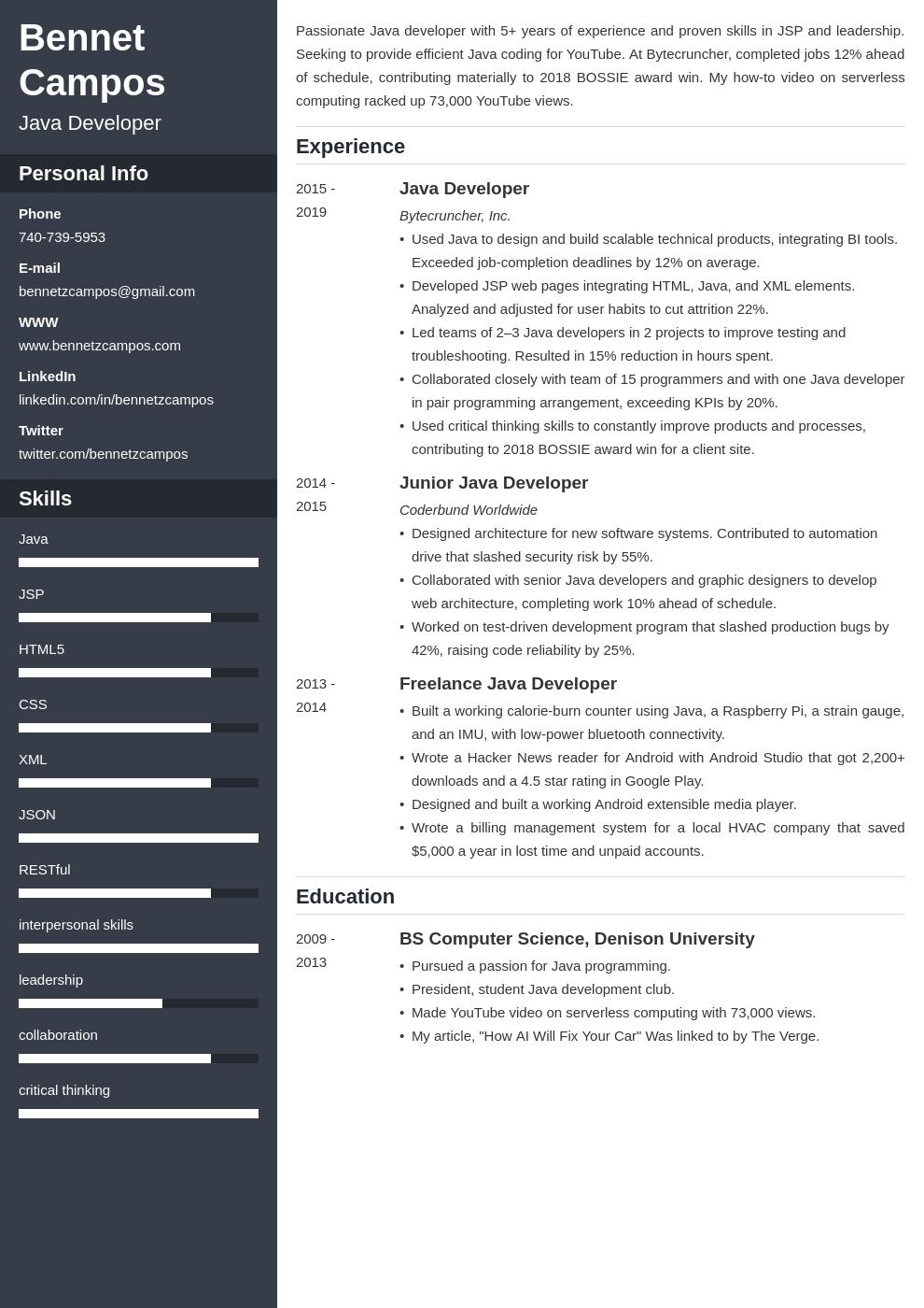java developer template cascade