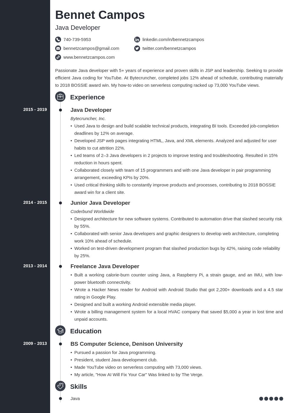 java developer template concept