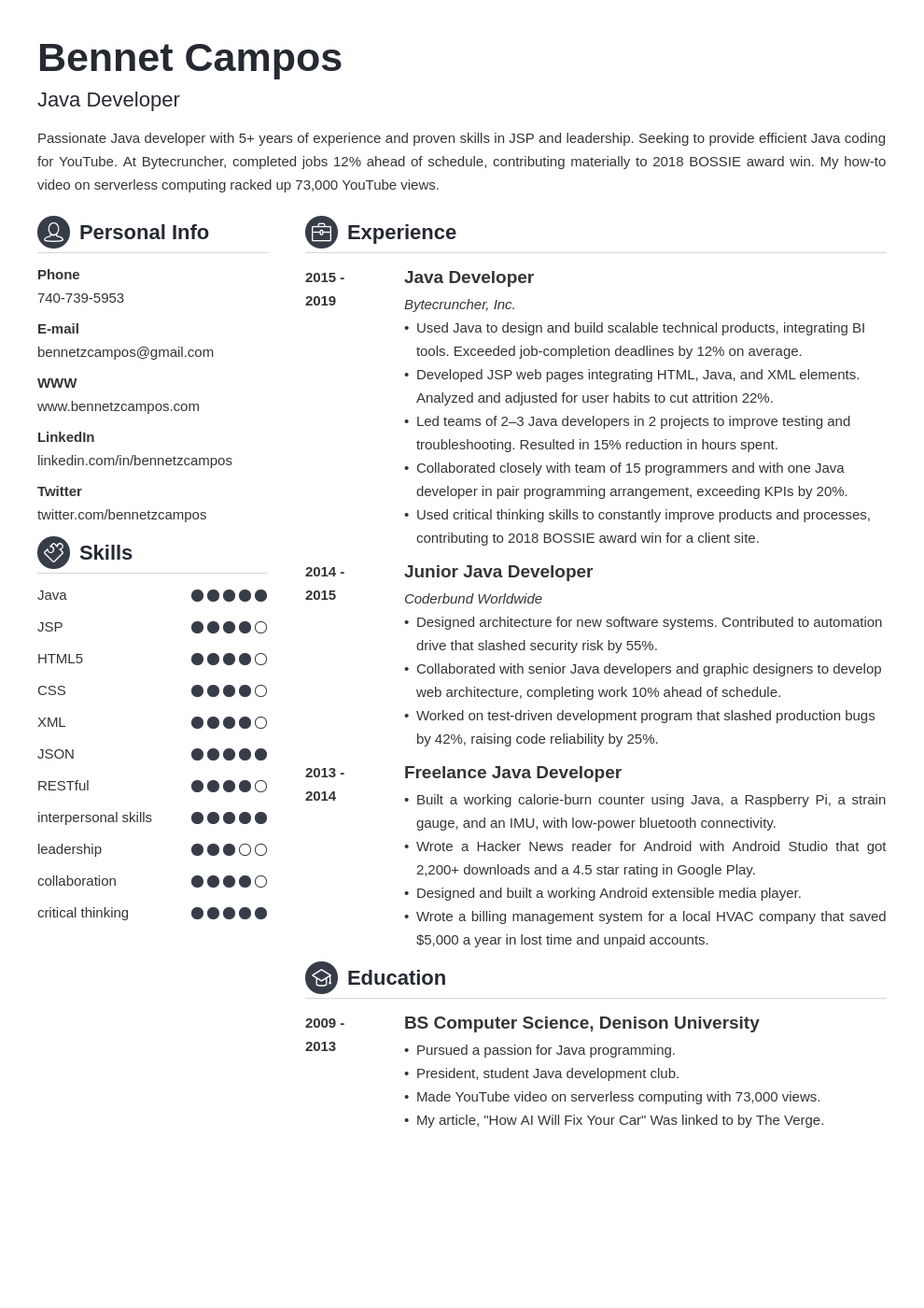 java developer template crisp uk