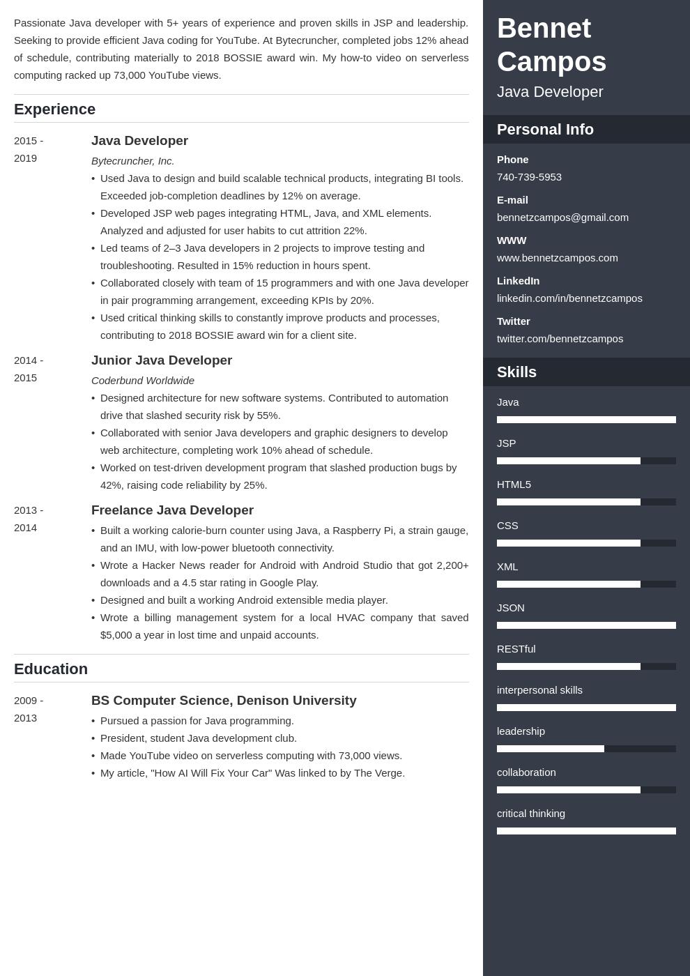 java developer template enfold