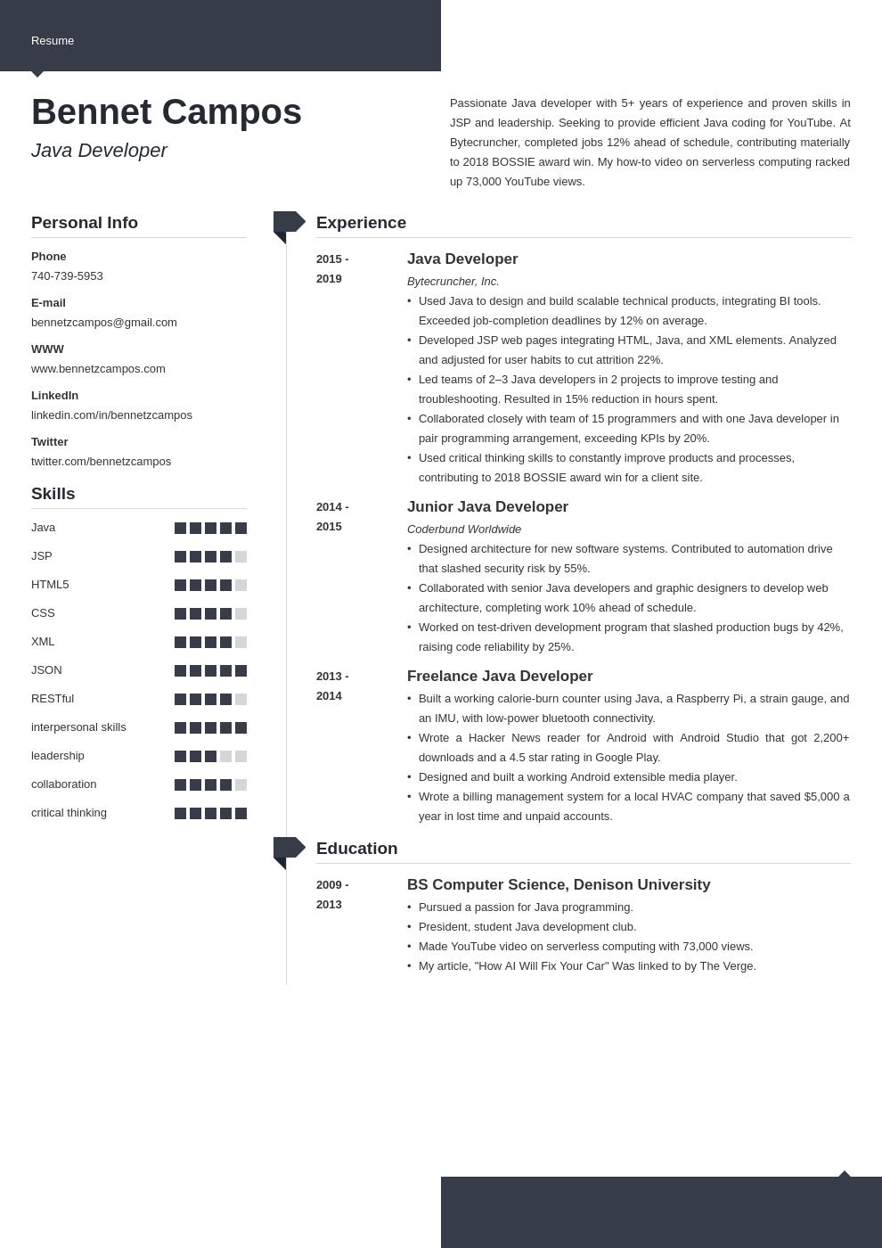 java developer template modern uk