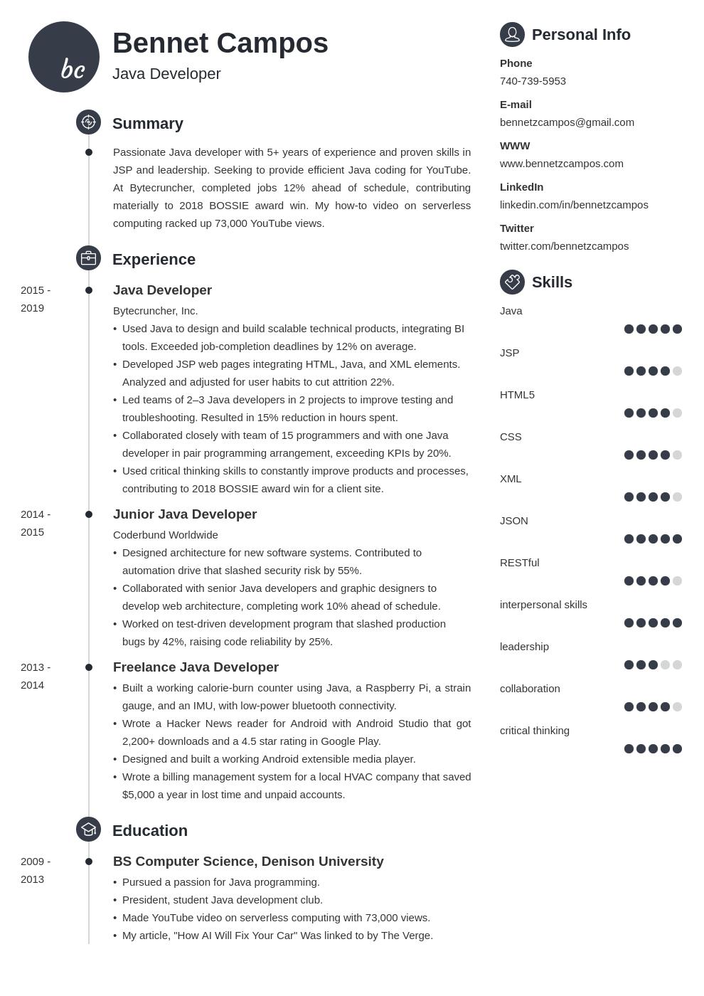 java developer template primo