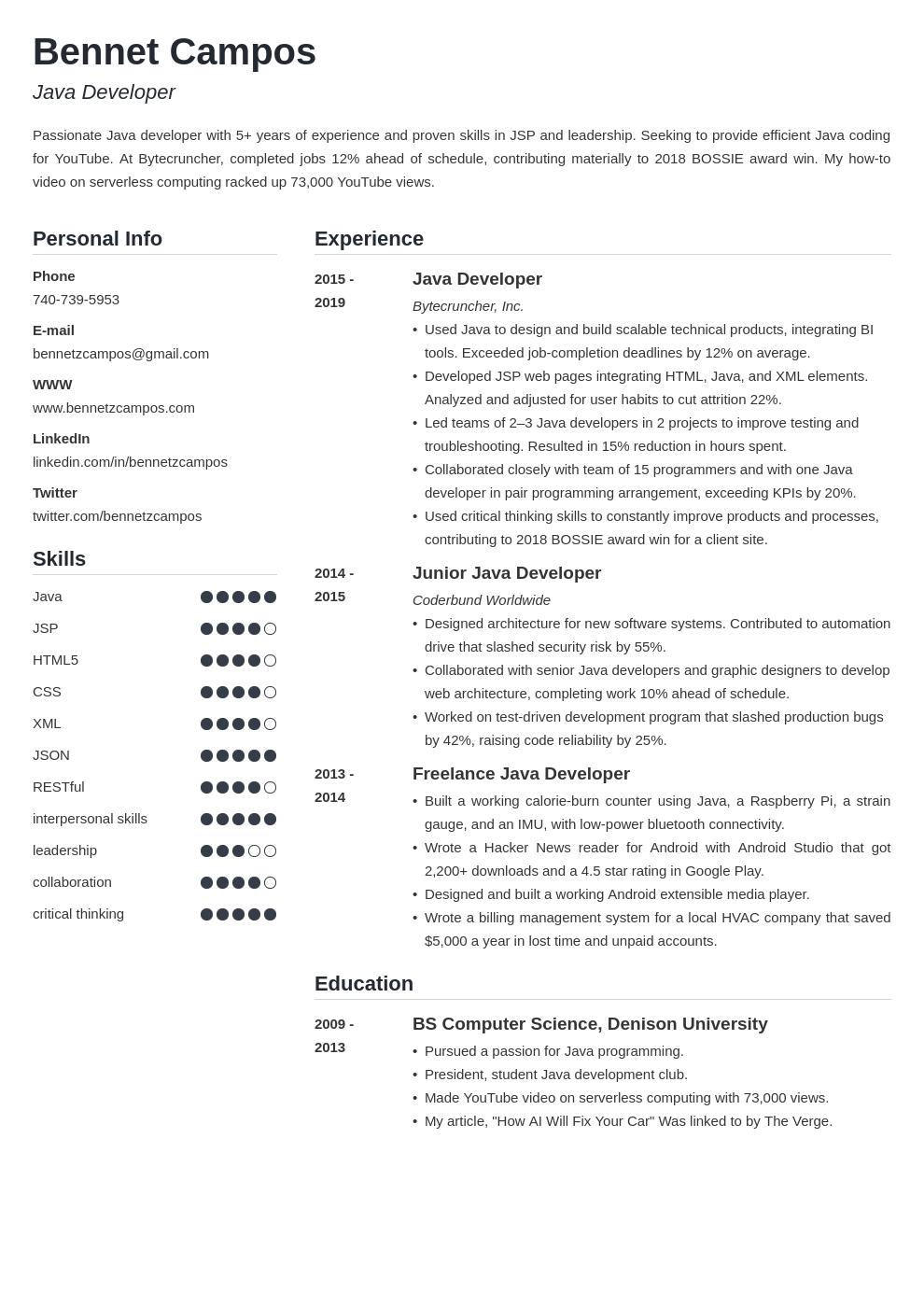 java developer template simple uk