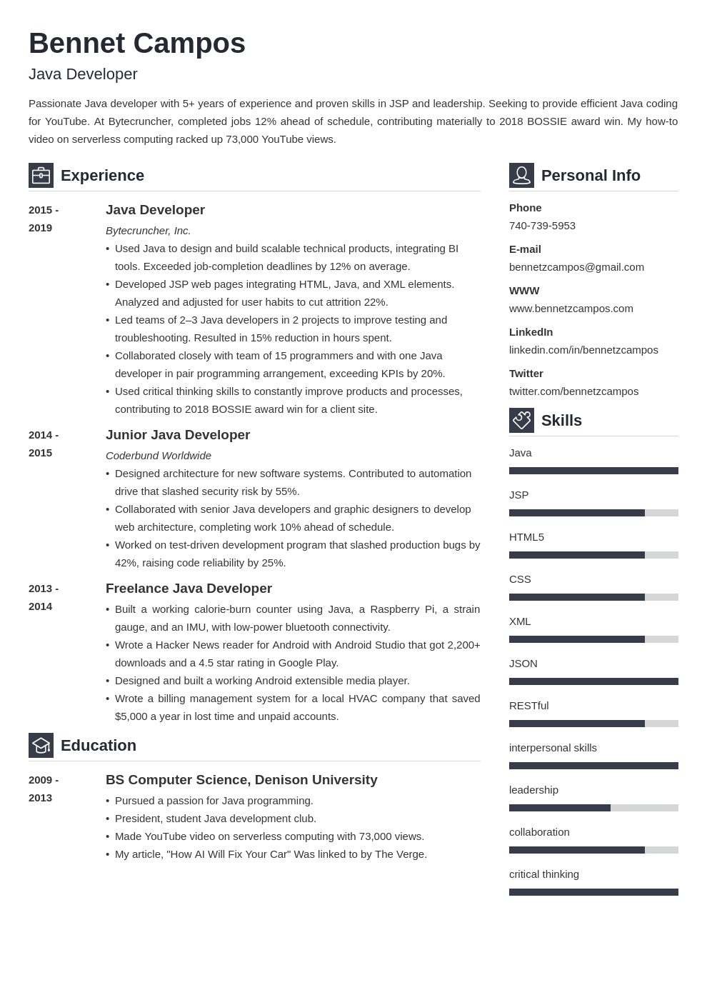 java developer template vibes uk