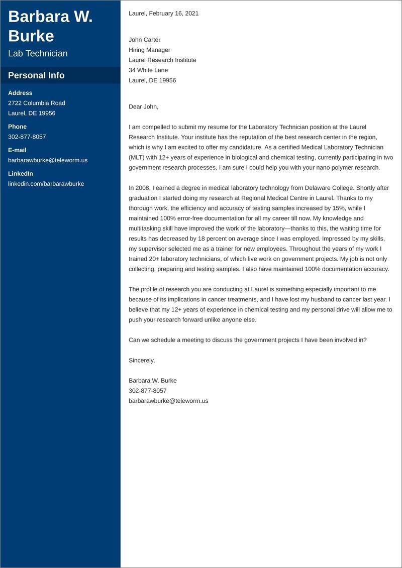 lab technician cover letter templates