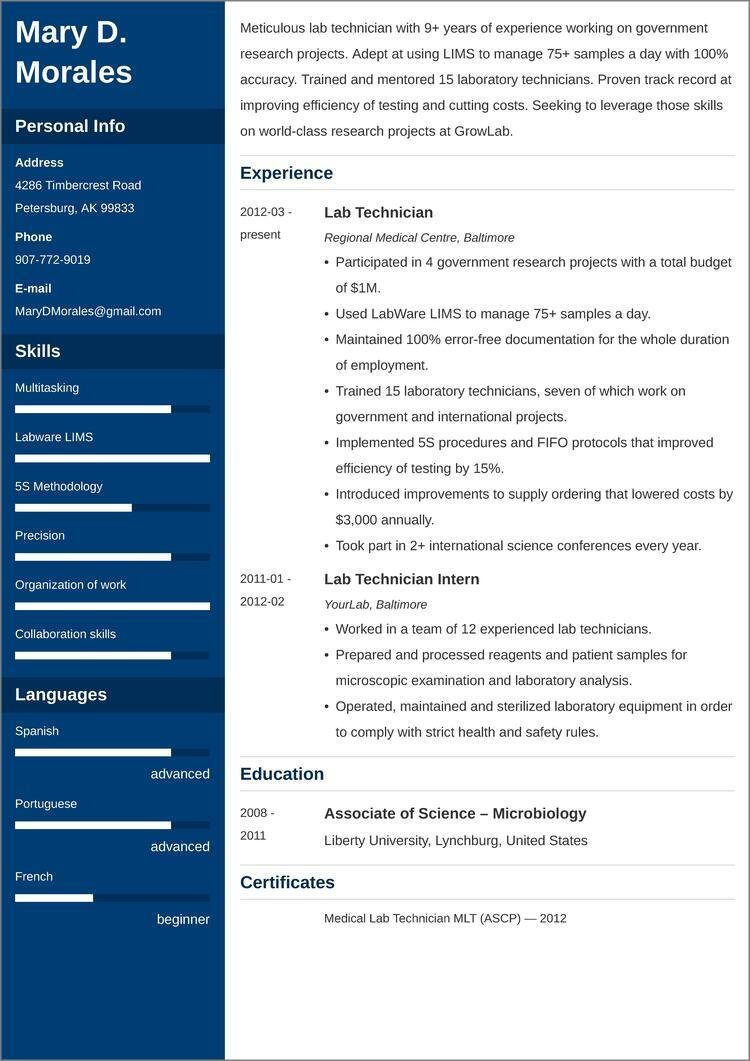 lab technician resume templates