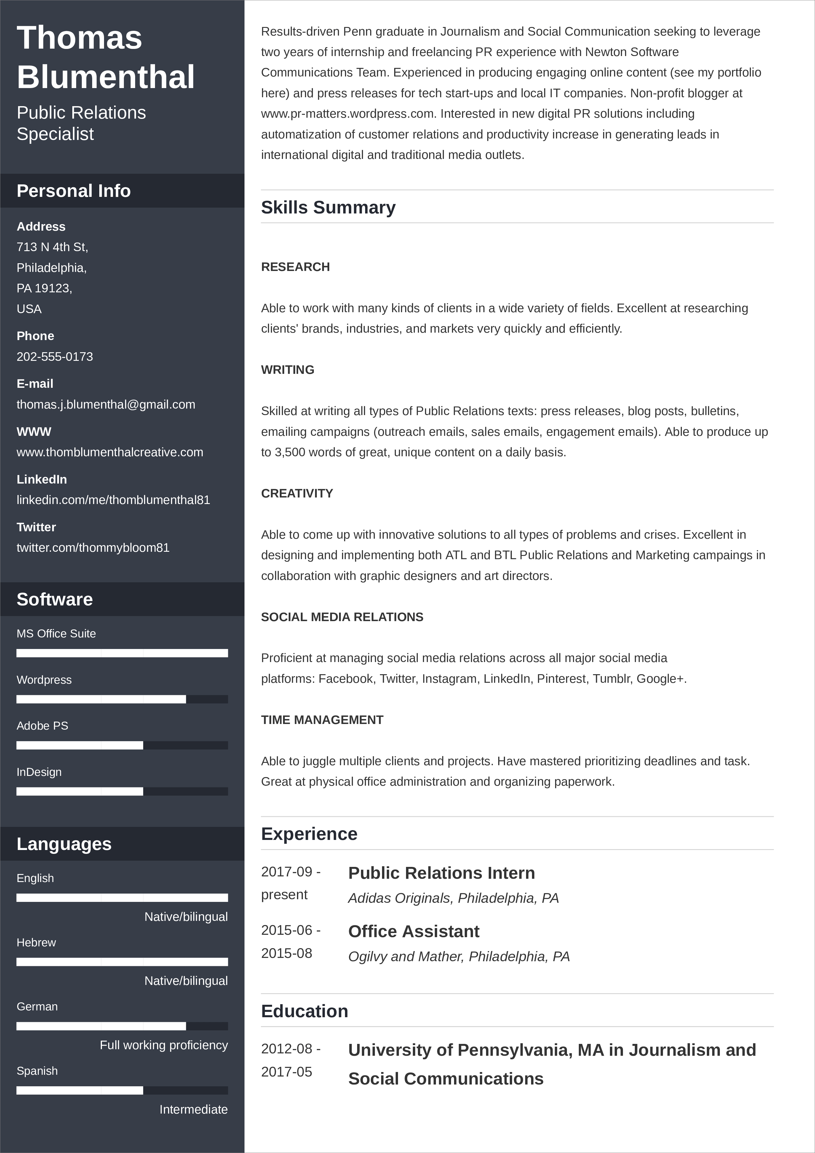 resume layout functional