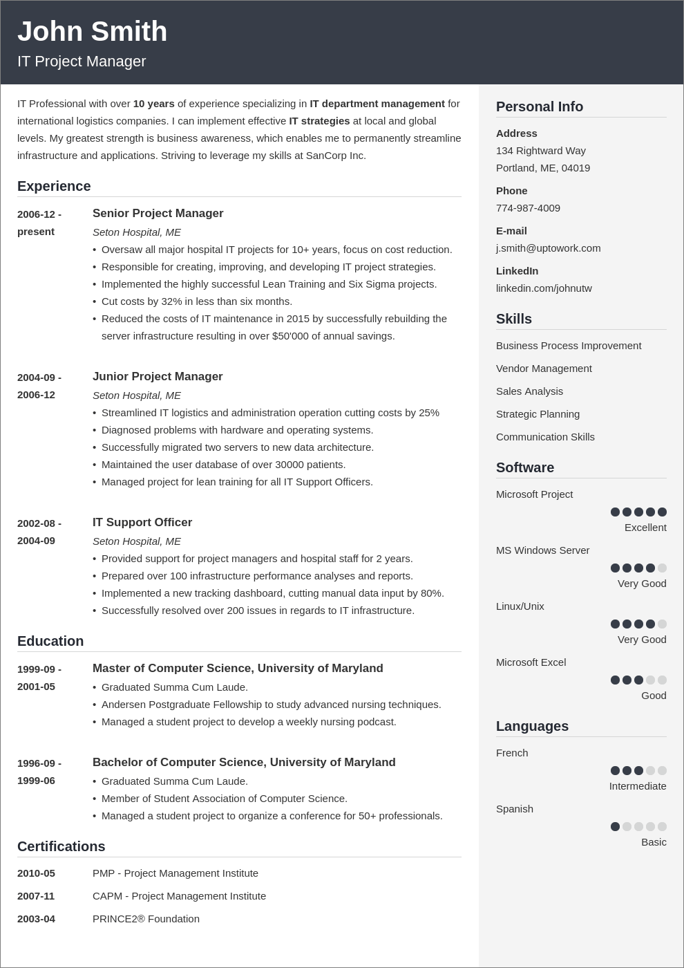 prefessional CV layout
