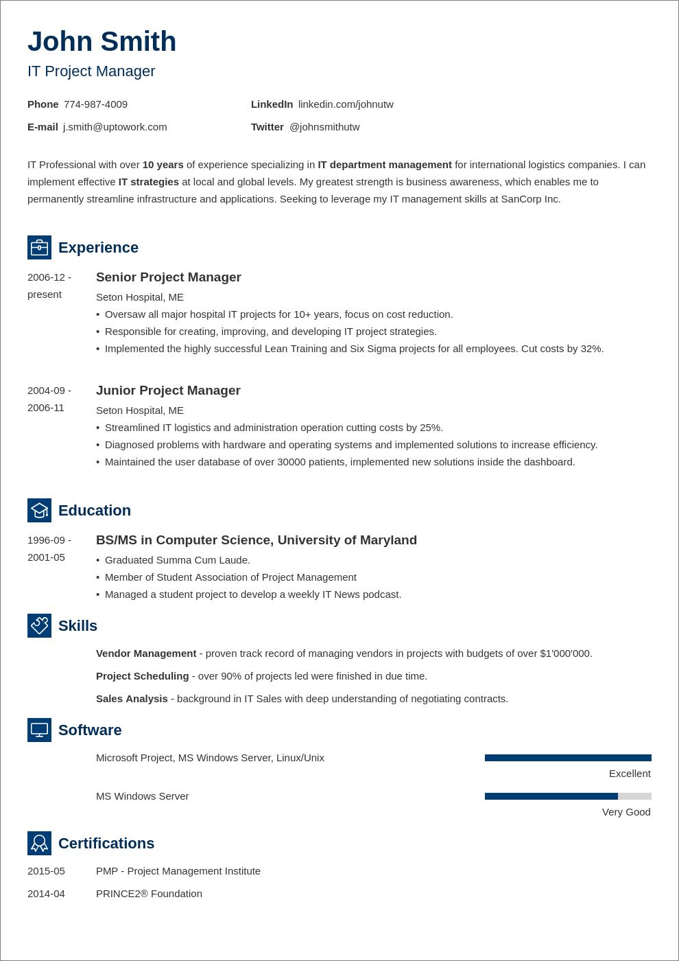 simple CV layout
